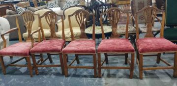 Set of six (4+2) Georgian country chairswith shaped and pierced backsplats and pink upholstered