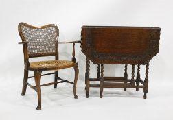 20th century oak gateleg tableand a low armchair(2)