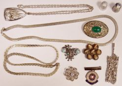 Quantity of silver and silver-coloured metal jewelleryincluding silver flexible flattened