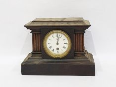 Late 19th century wooden cased mantel clock in architectural form, with movement marked 'PR8247',