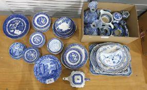 Large quantitiy of blue and white china (1 box plus)