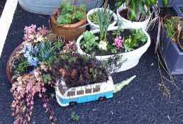 Selection of six planters including VW van shaped one etc.