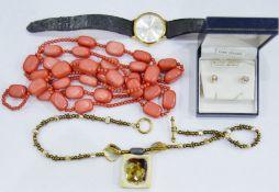 TIN of assorted costume jewelleryto include necklaces, wristwatch, etc