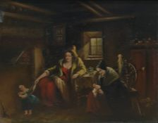 19th century style Oil on panel Figures in interior, unsigned, 18.5cm x 24cm