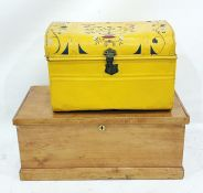 Yellow painted dome-topped tin trunkand a further trunk(2)