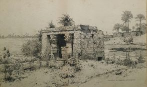 """In the manner of David Roberts Pen and ink """"Temple De Hathor Aphrodite"""", 22cm x 36cm Condition"""