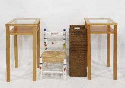 Pair of side tables, a child's chair and a stick stand(4)