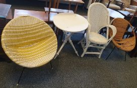 20th century garden chairin yellow and white metal frame,a white painted tableon turned and