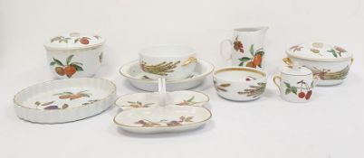 Royal Worcester oven-to-tableware, Evesham pattern, tureens and covers, a water jug, pie dish,