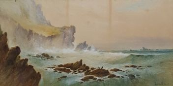 Norton Willis Watercolour drawing Landscape with cliffs and rocks, signed, 25cm x 50cm