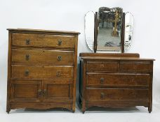 20th century oak chest of three drawers above two cupboard doors and a dressing chestwith three-