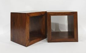 Pair of Eastern hardwood side tablesof cube-form (2) Condition ReportOne of the side tables has