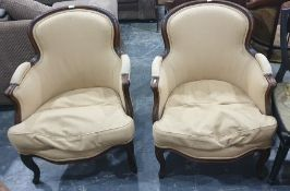 Pair of French-style tub chairsin yellow ground upholstery (2)