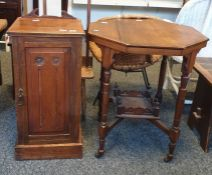 19th century pot cupboard, tall backed chairand an octagonal table(3)