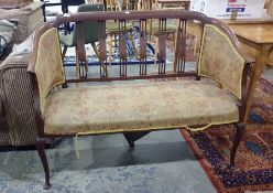 Mahogany and satinwood inlaid two-seater sofa and two single armchairswith yellow ground foliate