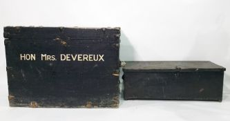 Black painted chest emblazed in 'Hon.Mrs.Devereux' and a tin chest (2)
