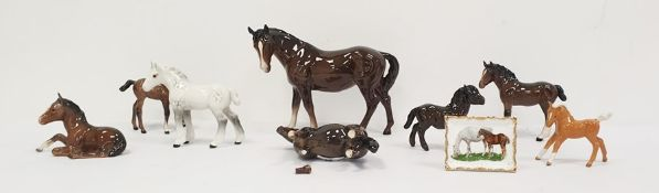 Collection of eight various Beswick horses and ponies together with a Royal Grafton fine bone