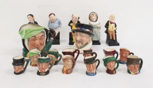Collection of twelve miniature Royal Doulton toby jugs, two lager Royal Doulton toby jugs and five