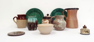 Collection of 20th century studio pottery to include a brown half glazed jug, another jug