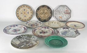Collection of eleven various continental and other decorative plates to include handpainted