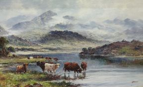 J Morris Oil in canvas Highland Cattle by a lake scene, a pair (2)