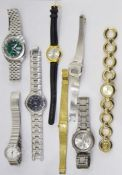 Five boxes of assorted costume jewelleryto include wristwatches, necklaces, brooches, etc (5)