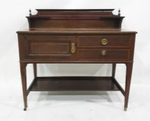 Late 19th century mahogany and satinwood banded wash standwith galleried back, single cupboard door