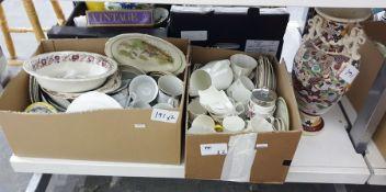 Two boxes of mixed ceramics plus large two handled Japanese style vase