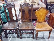 Pair of 18th century-style oak chairswith vase-shaped back splats, wooden seat and turned block