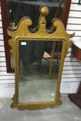 Georgian style giltwood wall mirror with rectangular plate, swan neck shaped pediment Condition