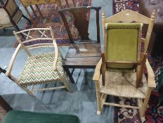 Three assorted chairsand a gout stool(4)