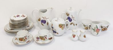 Royal Worcester Evesham pattern part tea and coffee service, a large water jug, teapot, coffee