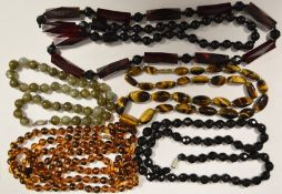 Small quantity of hardstone and other bead necklaces (one tray)
