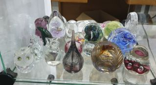 Collection of paperweights, glass model birds, etc