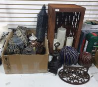 Assortment of outside lanterns, two ceramic decorative glass bowls, a cast iron bootscraper and