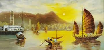C Lau (20th century) Oil on canvas Eastern river scene with sailing junks and cityscape to