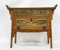 Eastern-style hall tablewith two drawers above fall compartment, 97cm x 85cm