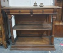 19th centuiry rectangular three-tier buffet, the rectangular top with moulded edge above two