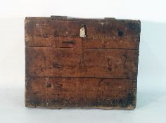 Possibly 19th century pine chest with iron carrying handles, 84cm x 74cm approx
