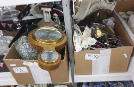 Two boxes of mixed items including toast racks, a modern banjo barometer, decorated brassware and