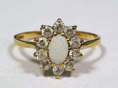 9ct gold diamond and opal cluster ring