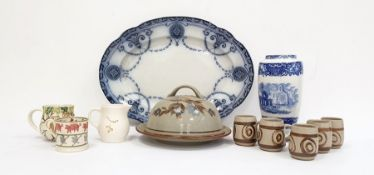 Collection of mixed ceramics and pottery to include a blue and white underglazed pottery vase, a