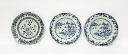 Pair of 19th century Chinese porcelain plateswith underglaze blue painted lakeside landscape to the