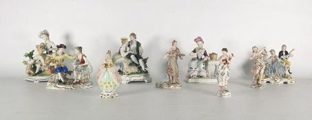 Nine various 19th century continental porcelain figure groups to include Meissen, Neurenburg, etc