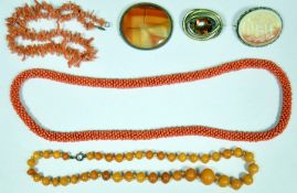 Amber-coloured bead necklace, graduated, old branch coral bead necklace, white opaline glass cameo