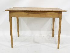 19th century side table, the shaped top on square section supports, 107cm x 77cm approx