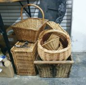 Various baskets including picnic basket, large shopping basket, log basket and three others