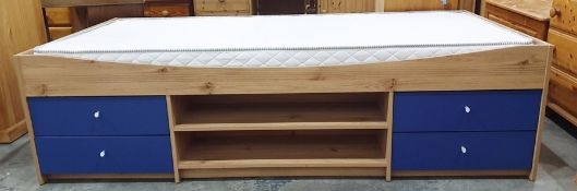 Single bed and mattresswith drawers and open recess under
