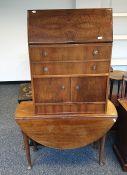 19th century mahogany drop-leaf table and a walnut bureau(2)