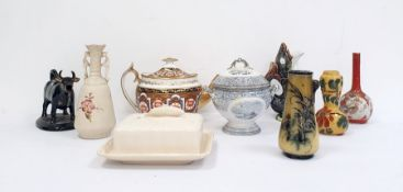 Spode teapot together with a 19th century Goebel fish jug, a pottery cow creamer, majolica jug,